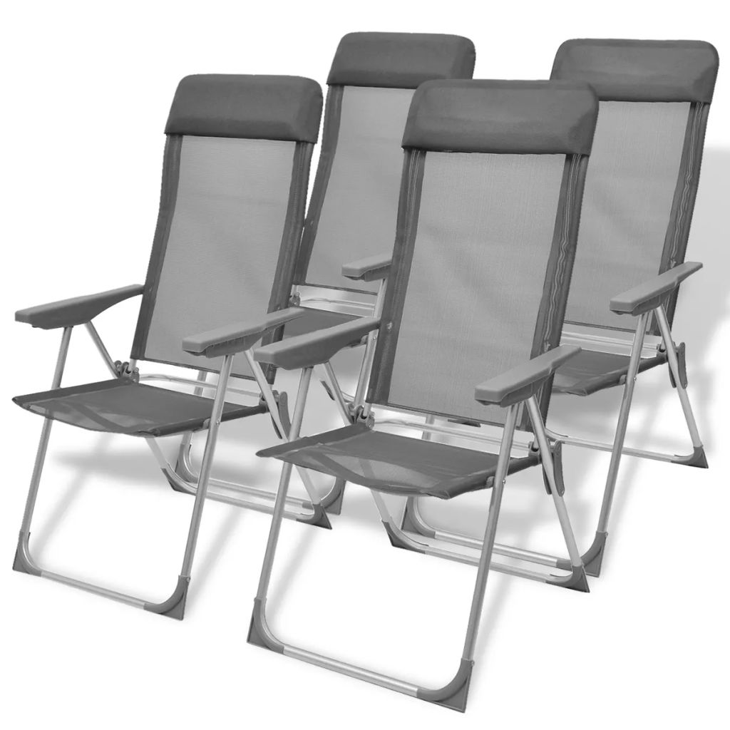 chaise de camping 4 pcs gris aluminium 56 x 60 x 112 cm. Black Bedroom Furniture Sets. Home Design Ideas