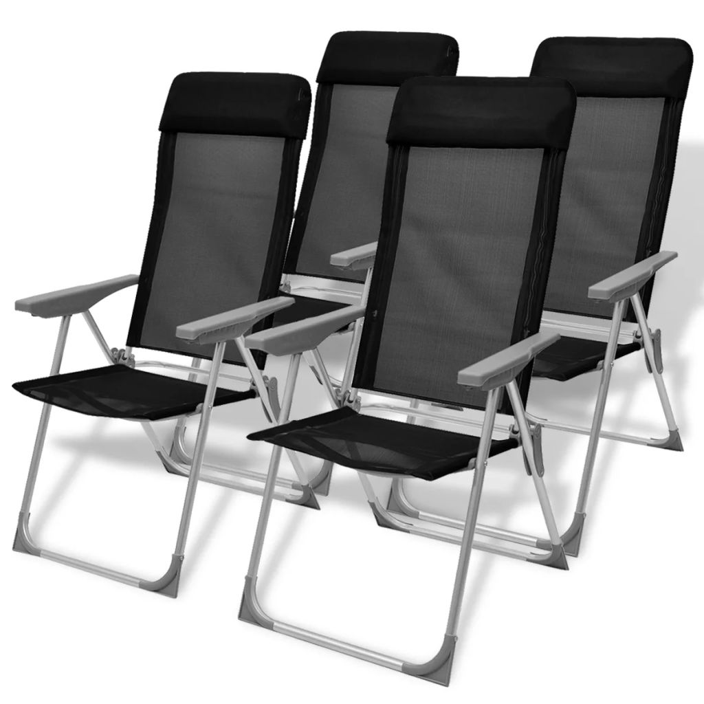 chaise de camping 4 pcs noir aluminium 56 x 60 x 112 cm. Black Bedroom Furniture Sets. Home Design Ideas