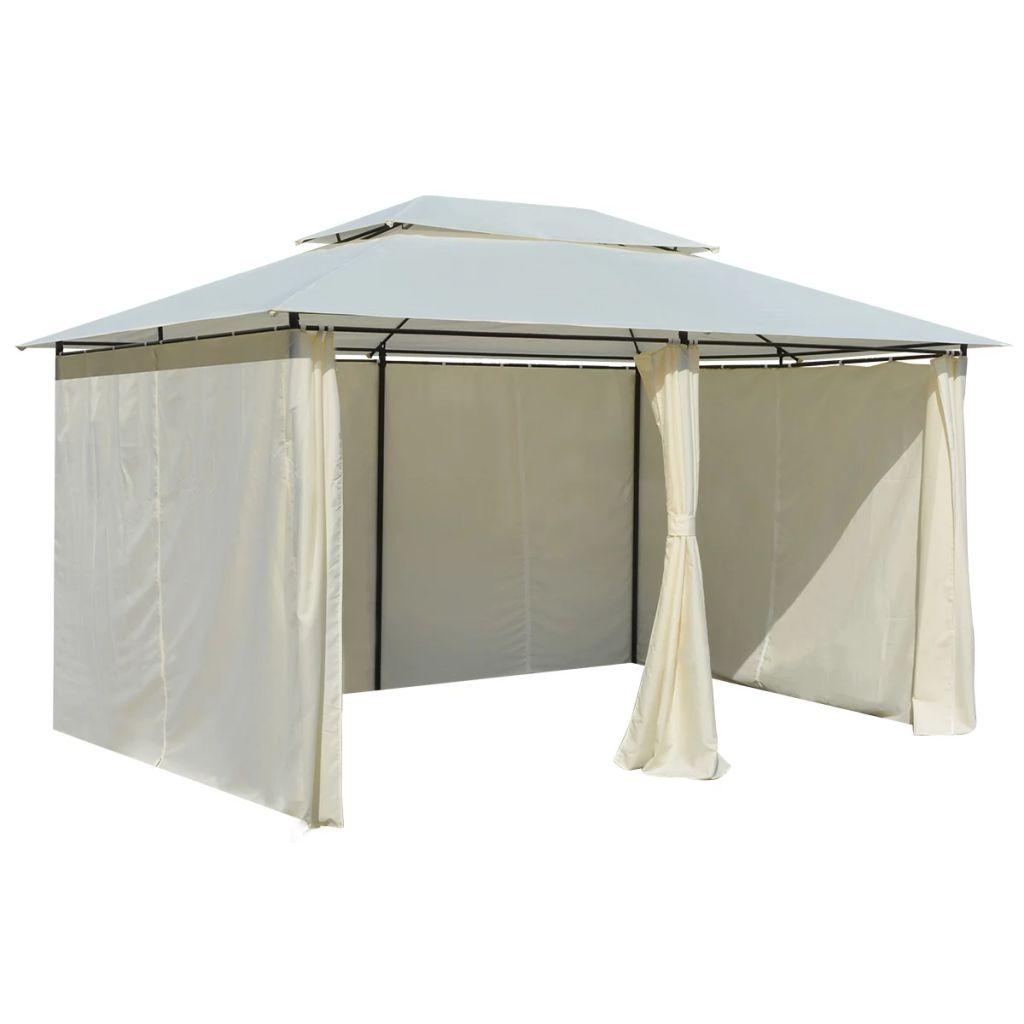 tonnelle de jardin avec rideaux blanc 4x3. Black Bedroom Furniture Sets. Home Design Ideas