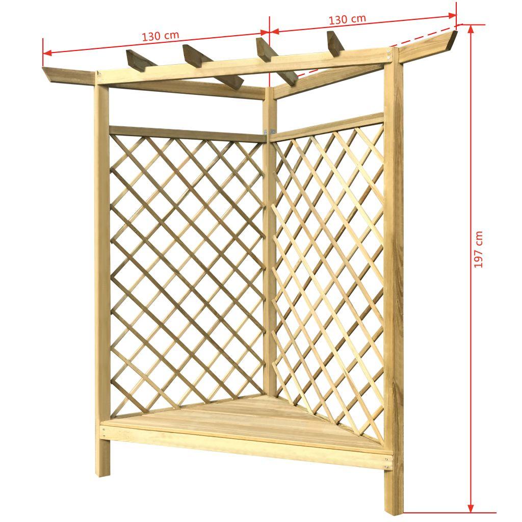 pergola d 39 angle avec si ge et treillis pour plante grimpante en bois de pin impr gn seulement. Black Bedroom Furniture Sets. Home Design Ideas