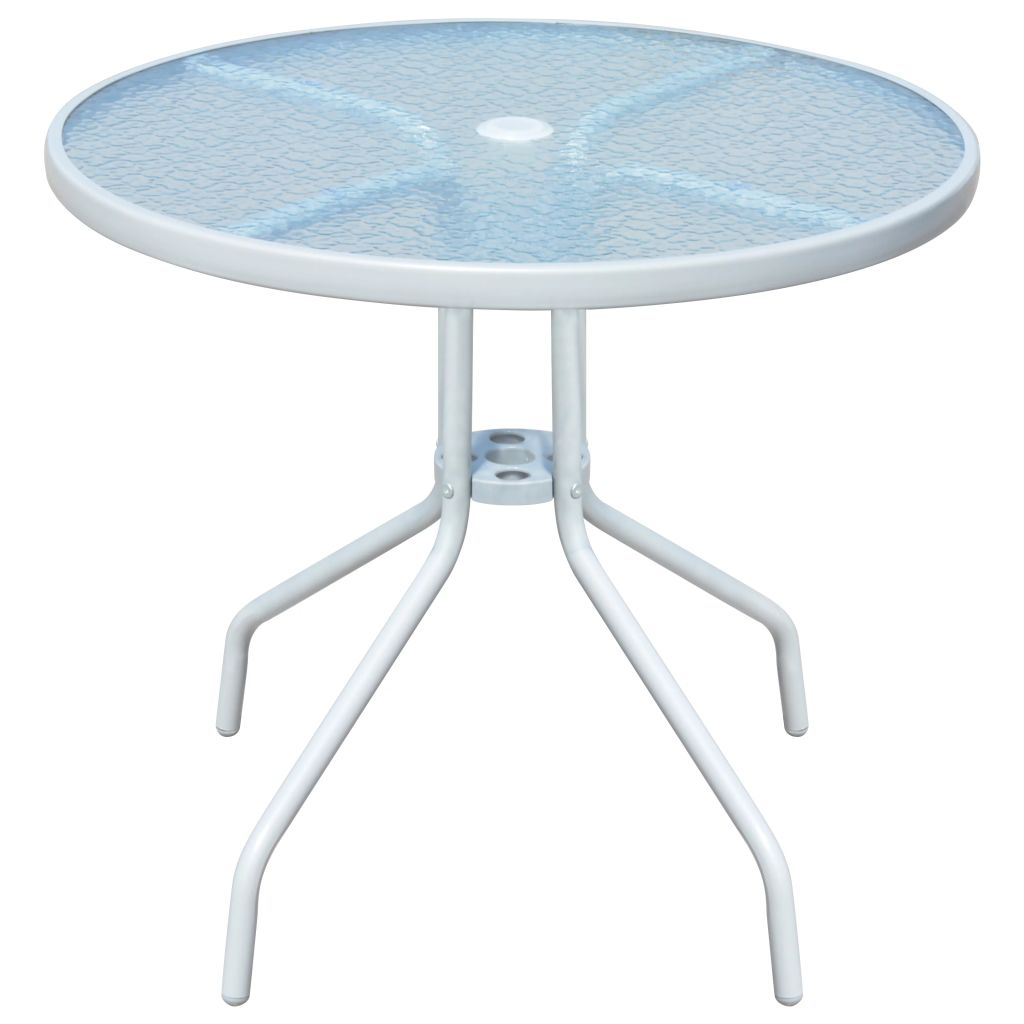 table de jardin ronde 80 x 71 cm acier gris - Table De Jardin Ronde