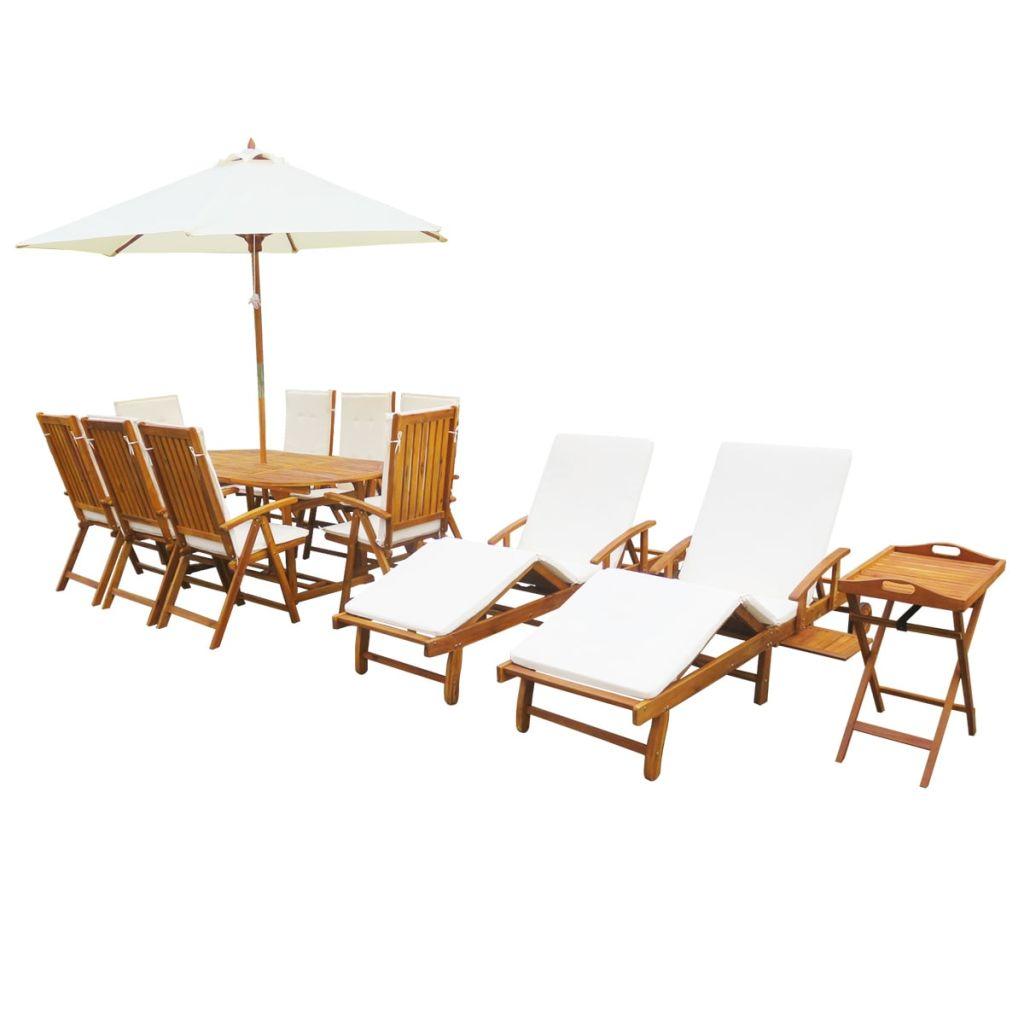 Ensemble de mobilier de jardin - Bois d\'acacia massif