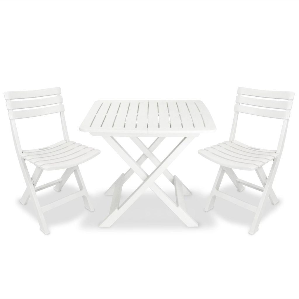 Ensemble de bistro pour jardin 3 pcs plastique blanc - Ensemble jardin plastique ...