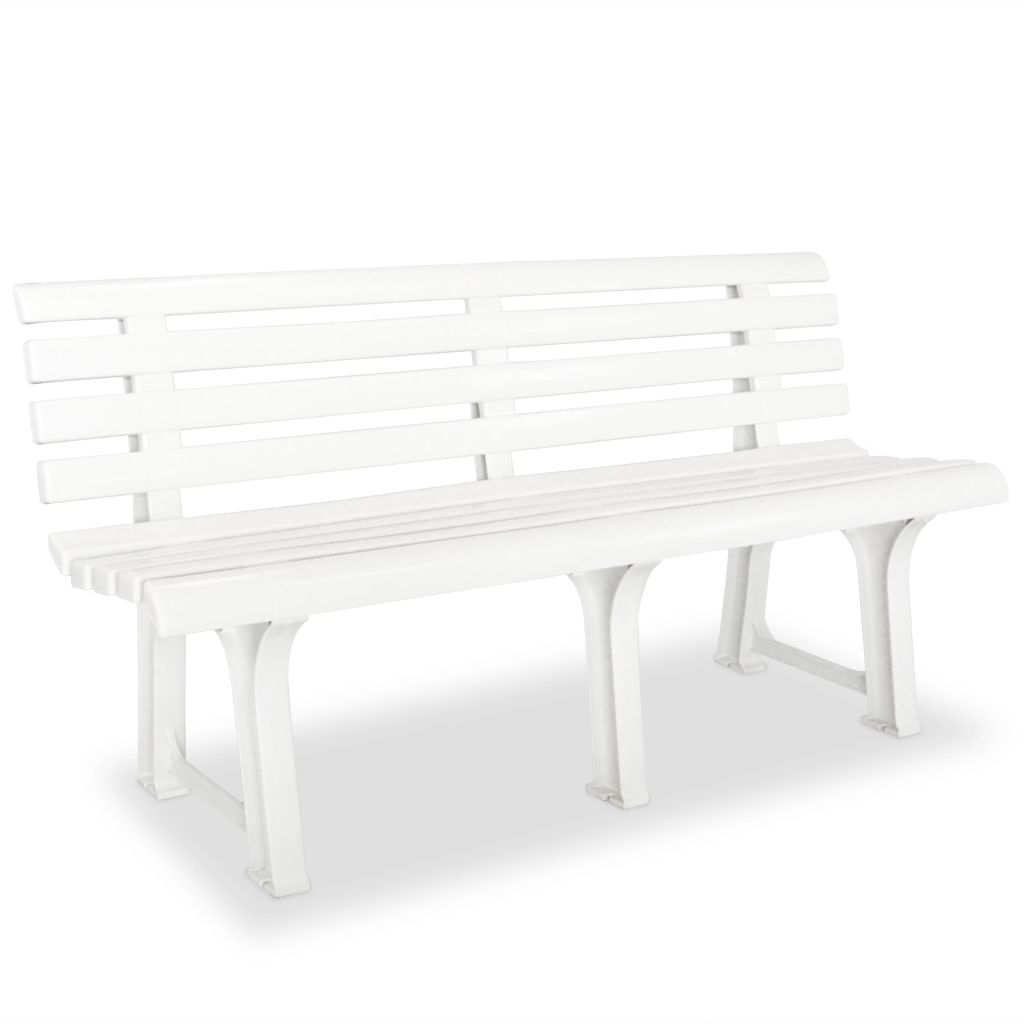 banc de jardin 145 5 x 49 x 74 cm plastique blanc. Black Bedroom Furniture Sets. Home Design Ideas