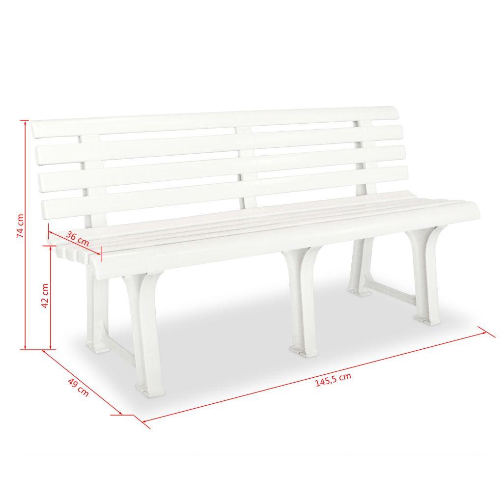 banc de jardin 145 5 x 49 x 74 cm plastique blanc. Black Bedroom Furniture Sets. Home Design Ideas