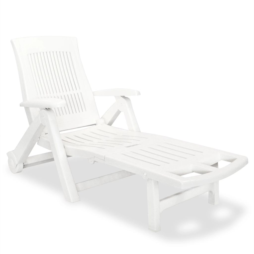 Chaise longue avec repose-pied Plastique Blanc on chaise recliner chair, chaise sofa sleeper, chaise furniture,
