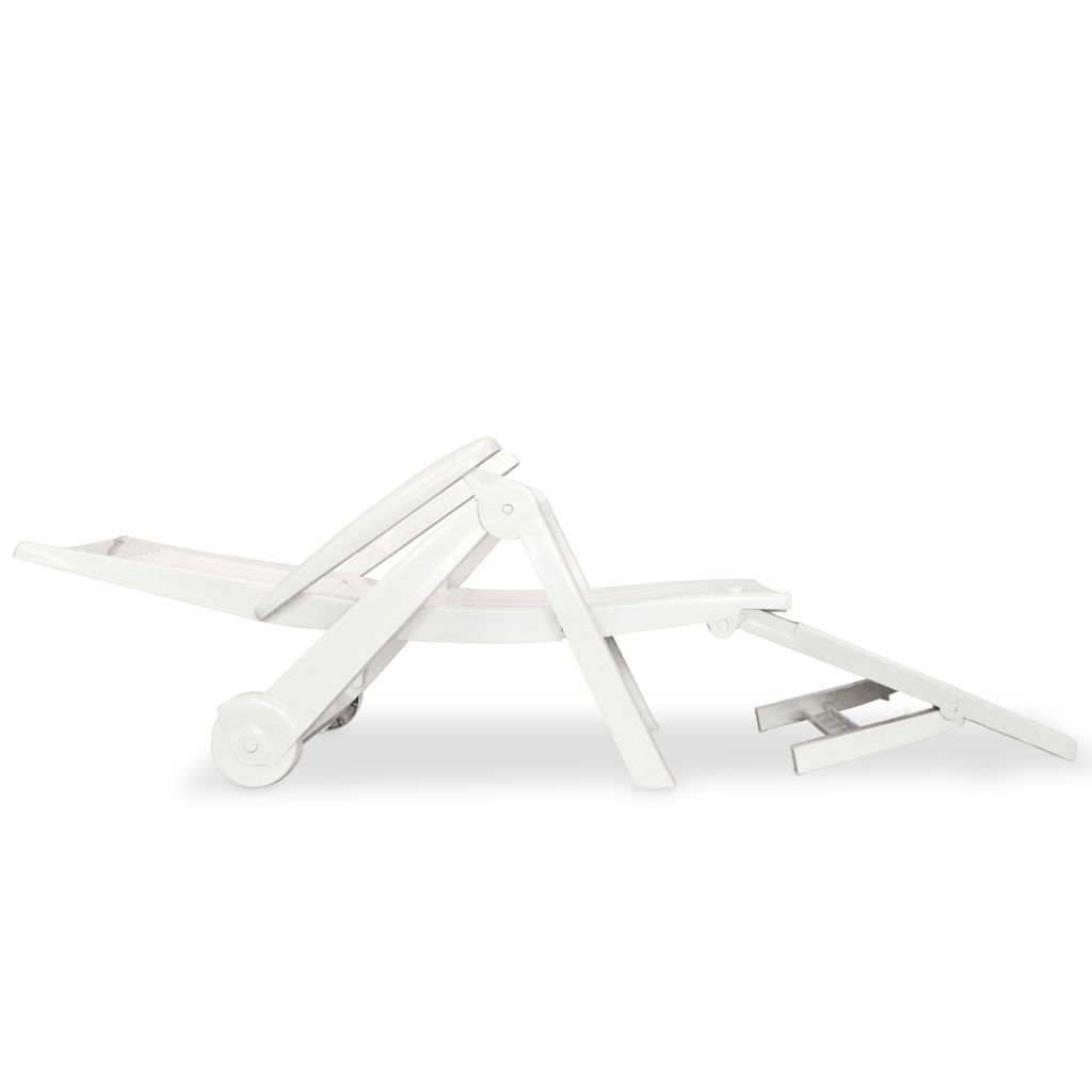 Chaise longue avec repose pied plastique blanc for Chaise longue fr