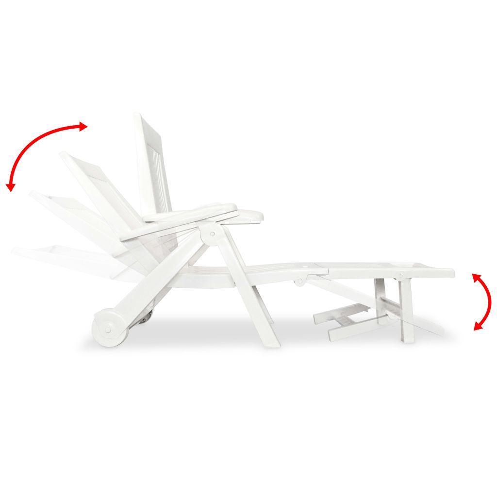 Chaise longue avec repose pied plastique blanc for Acheter chaises longues