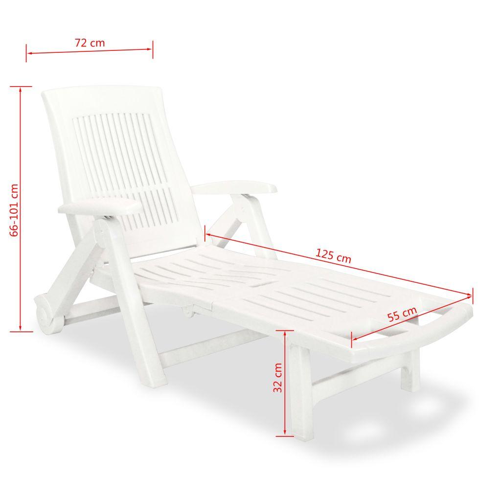 Chaise longue avec repose pied plastique blanc for Chaise longue jardin plastique blanc