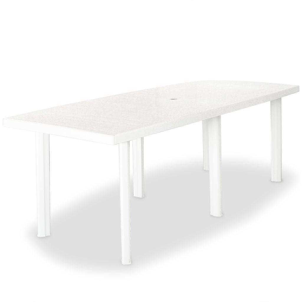 Table de jardin 210 x 96 x 72 cm plastique blanc - Table de jardin plastique blanc ...