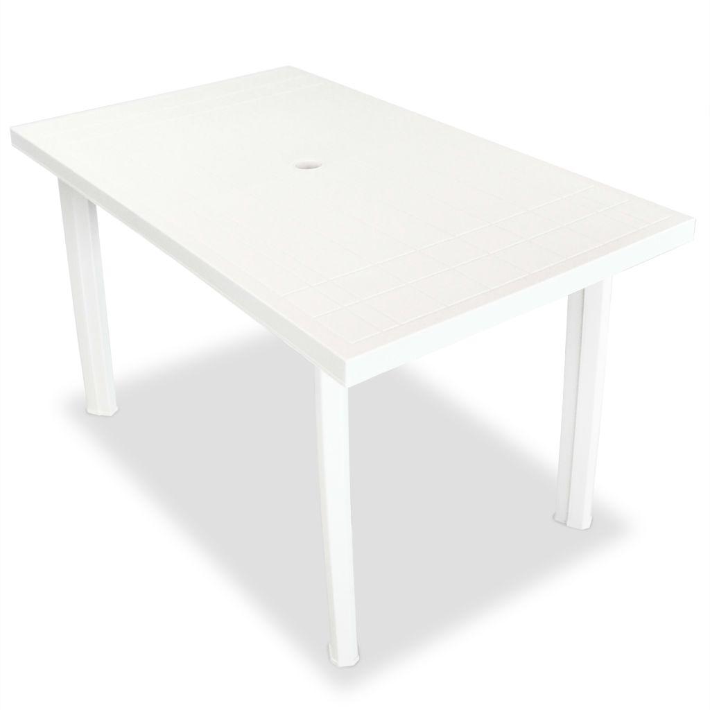 Table de jardin 126 x 76 x 72 cm plastique blanc - Table de jardin plastique blanc ...