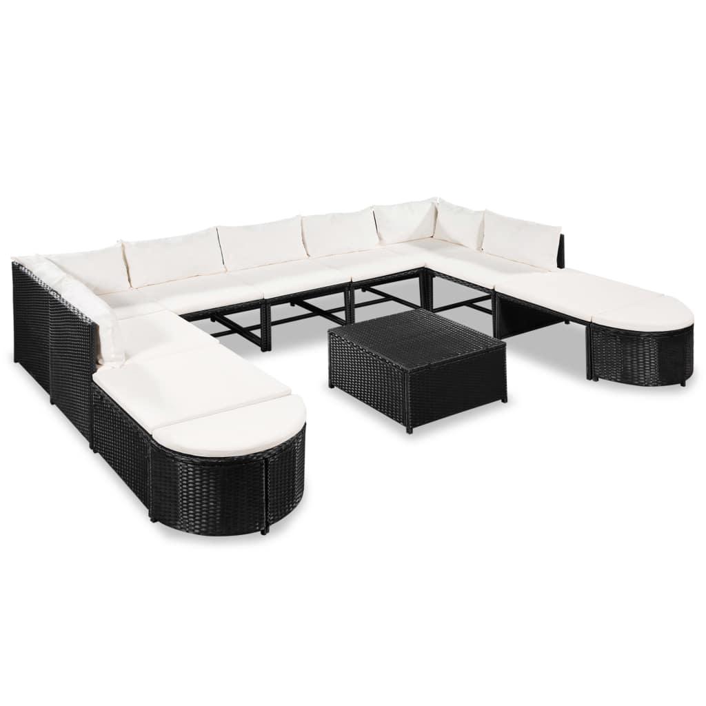 Dès 529.99€, Mobilier de jardin Résine tressée Noir et blanc crème 7 ...