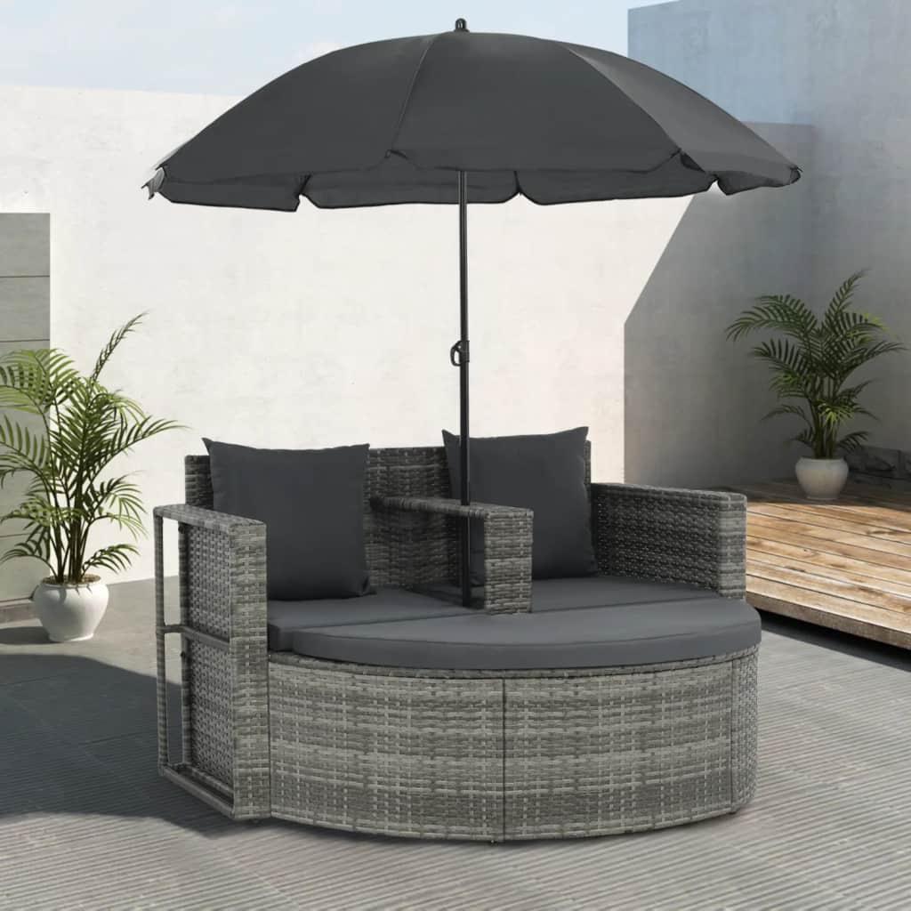 Salon de jardin gris en résine tressée à seulement 319.00€ sur Interouge.com