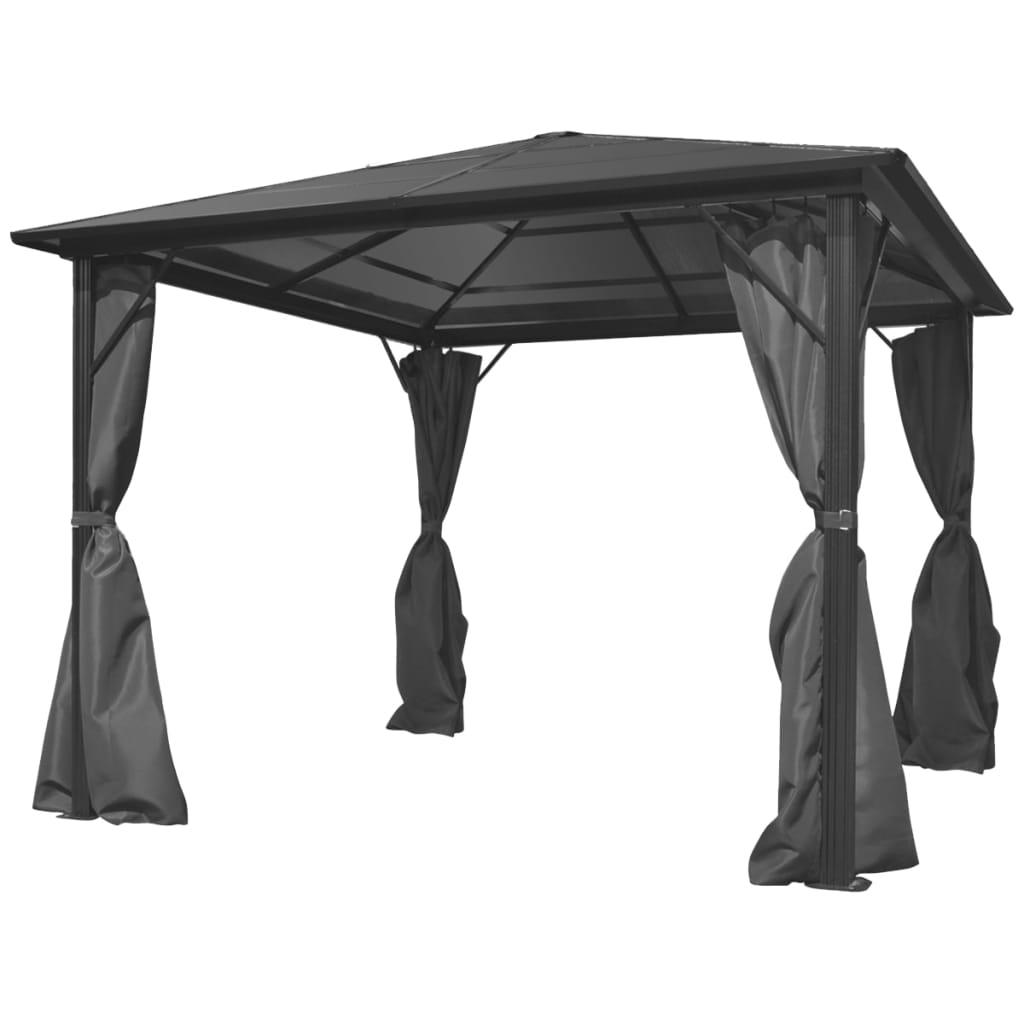 tonnelle avec rideaux aluminium anthracite 3 x 3 x 2 4. Black Bedroom Furniture Sets. Home Design Ideas