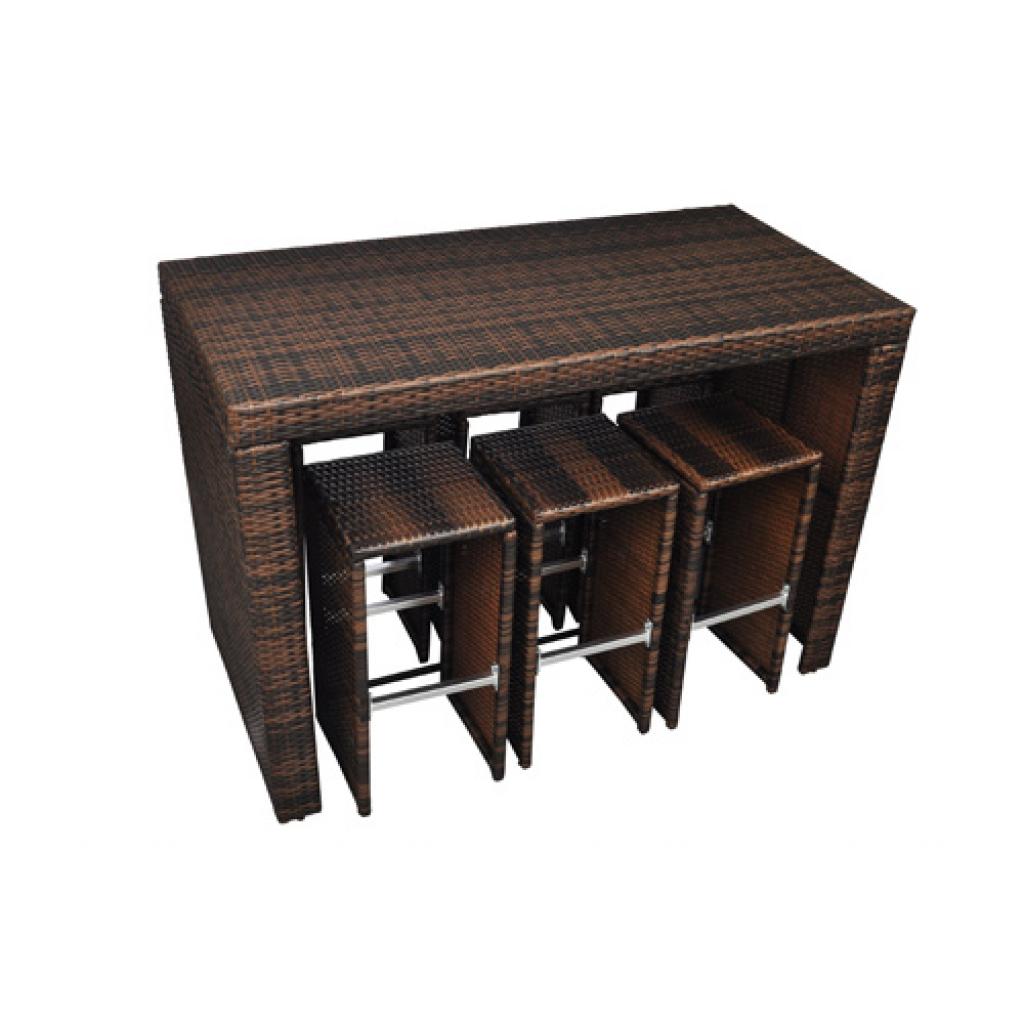 brown brown poly rattan garden bar set. Black Bedroom Furniture Sets. Home Design Ideas