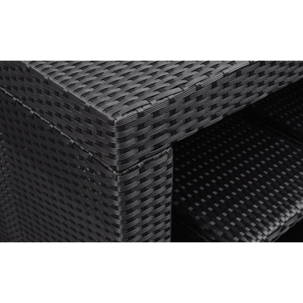 black black poly rattan garden bar set. Black Bedroom Furniture Sets. Home Design Ideas