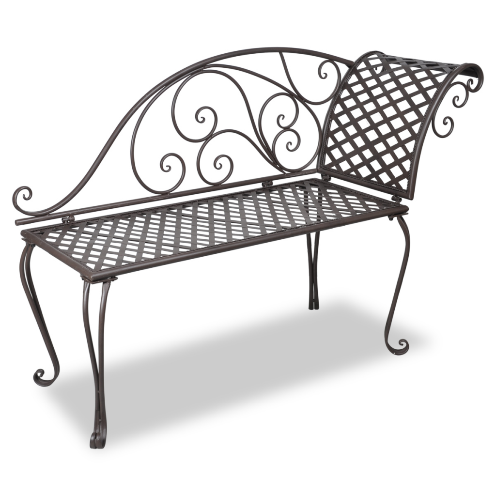Metal Garden Chaise Lounge Antique Brown Scroll Patterned