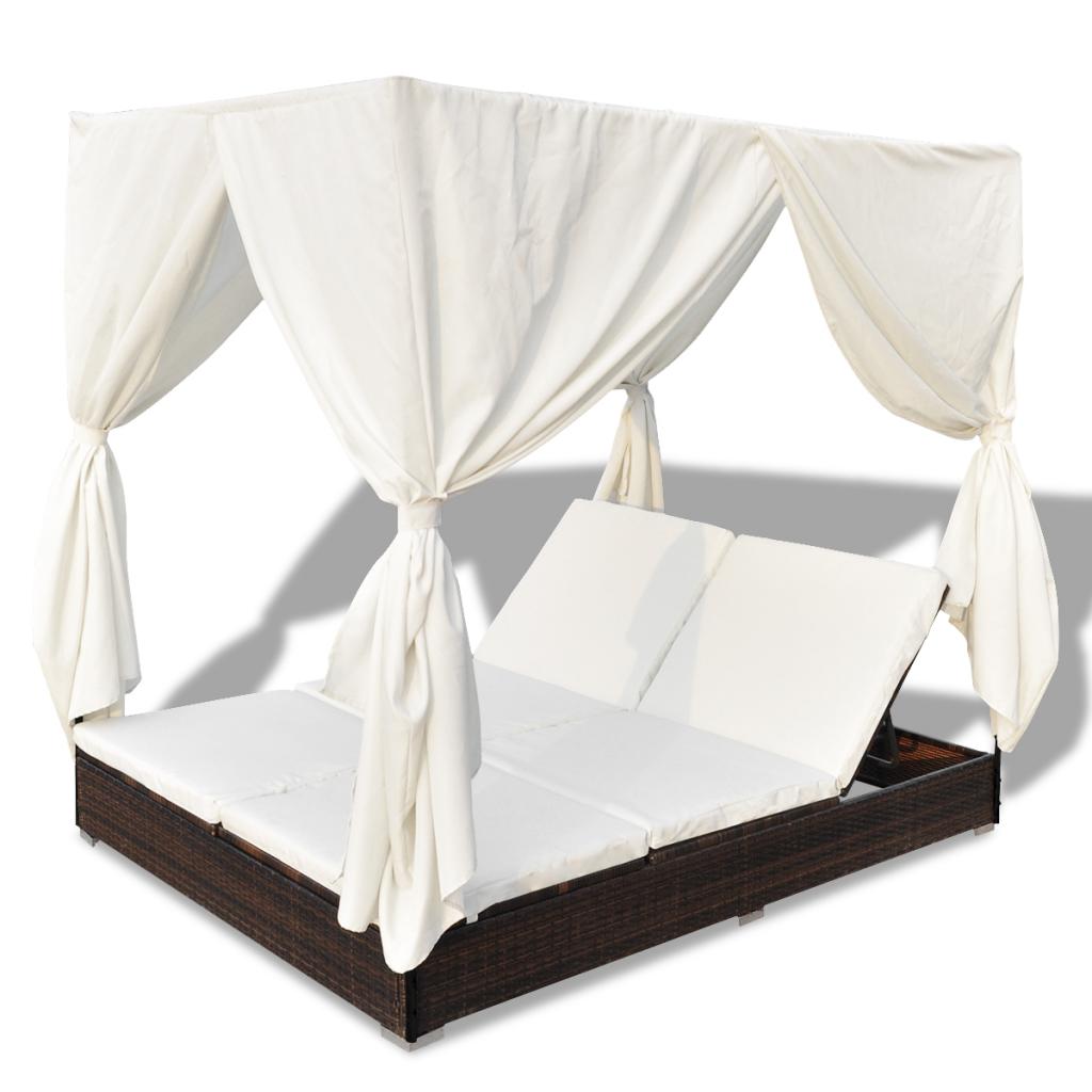 Nur 301.06€, Luxus Outdoor Brown Rattan Sun Bett 2 Personen mit ...