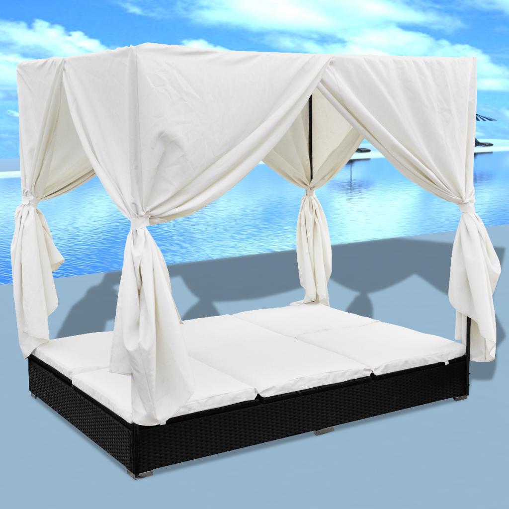 Nur 298.07€, Luxus Outdoor Schwarz Rattan Sun Bett 2 Personen mit ...