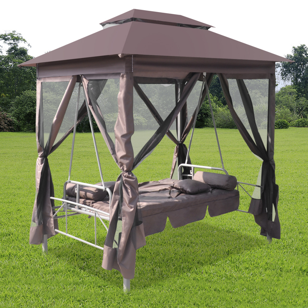 Brown Luxury Outdoor Gazebo Swing Chair Sunbed Coffee Lovdock Com