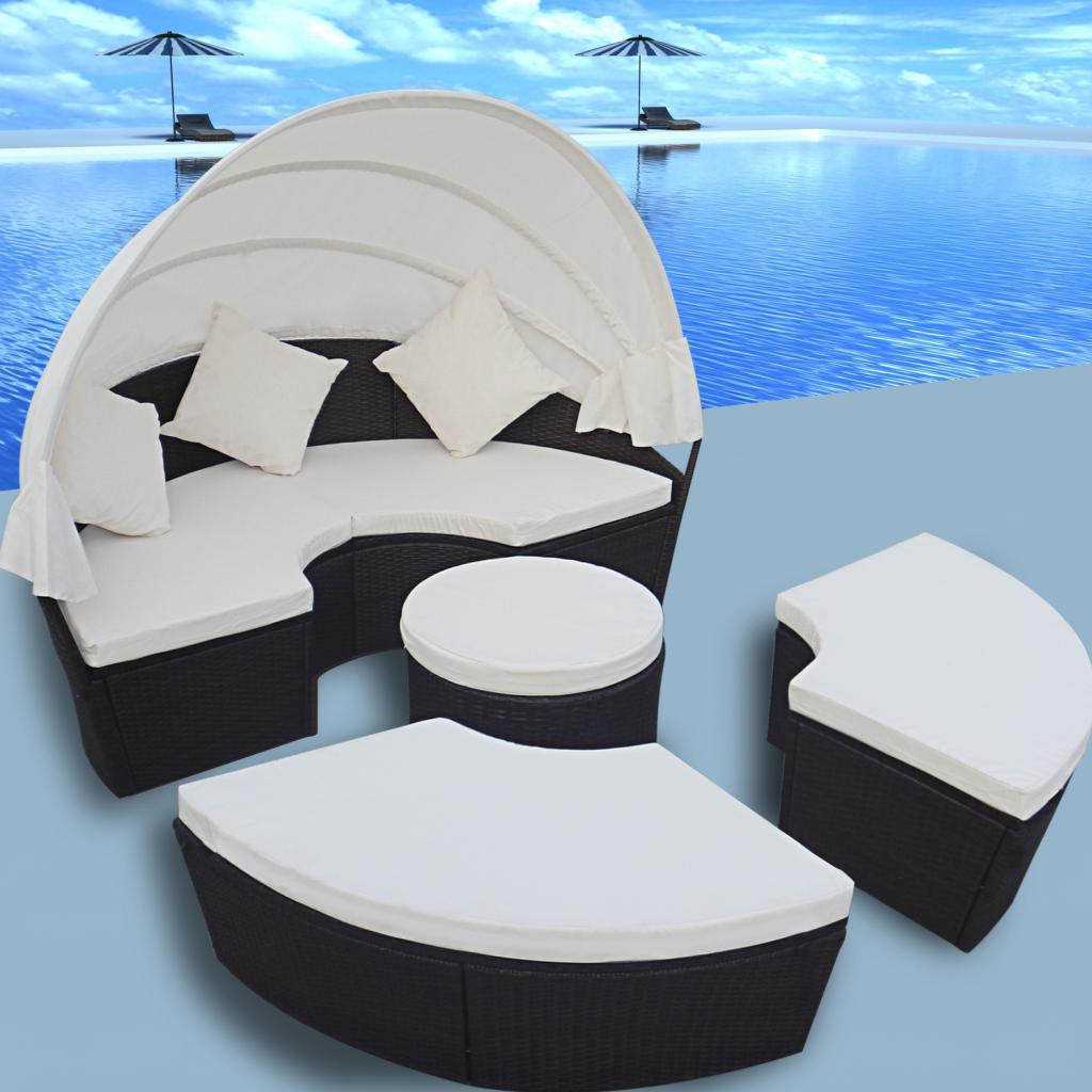 Nur 490.08€, 2-in-1 Rattan Lounge-Set Outdoor-Runde Sun-Bett mit ...