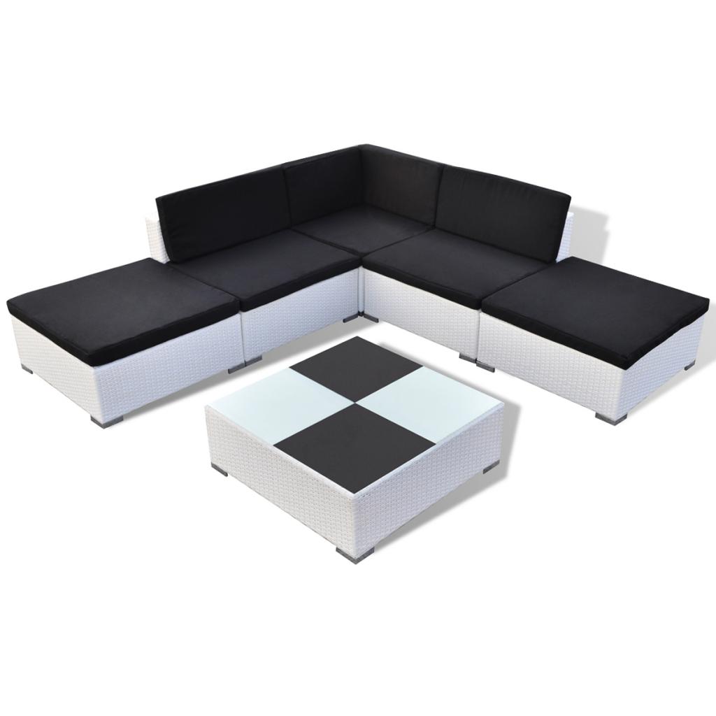 Nur 417.77€, 15 Stück Weiß Polyrattan Sitz Set Gartenmöbel - LovDock.com