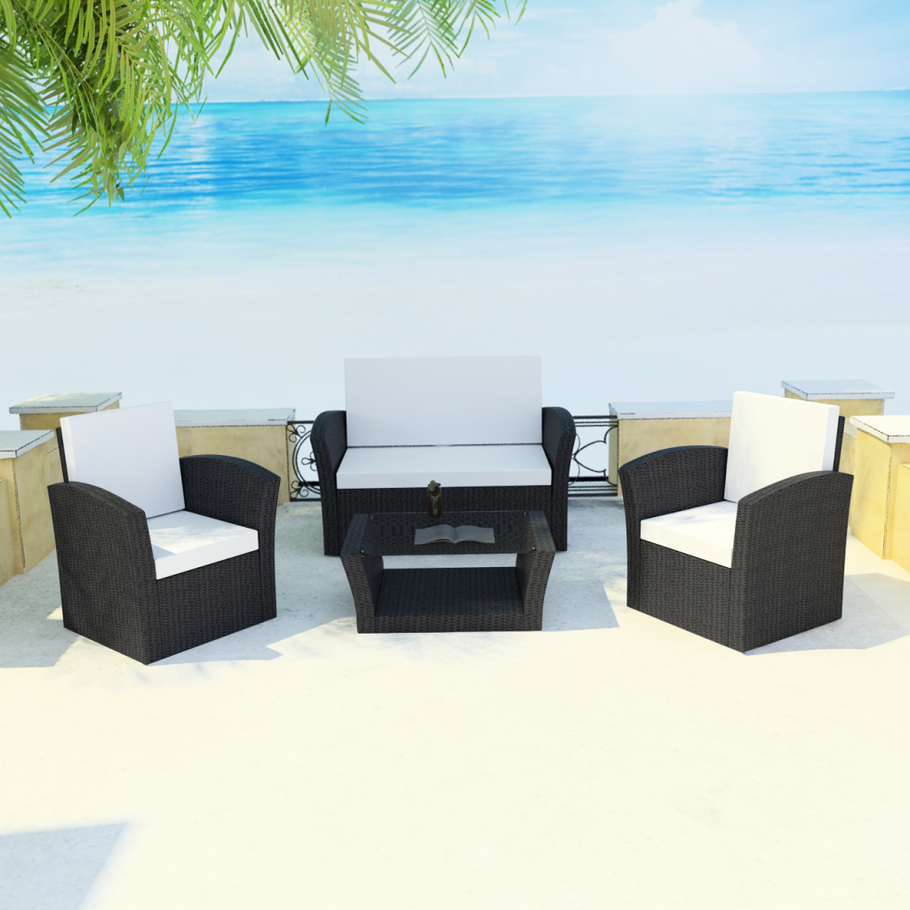 black black outdoor poly rattan lounge set with cushions. Black Bedroom Furniture Sets. Home Design Ideas
