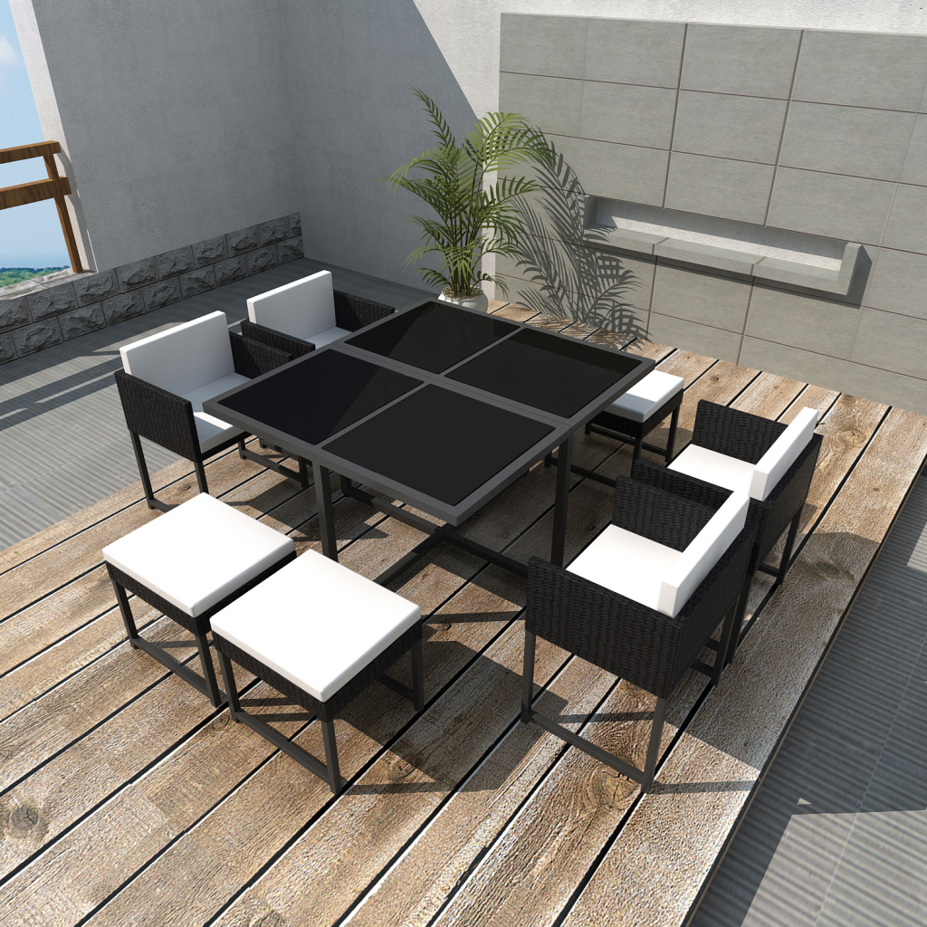 Black Poly Rattan Outdoor 8 Person Dining Set