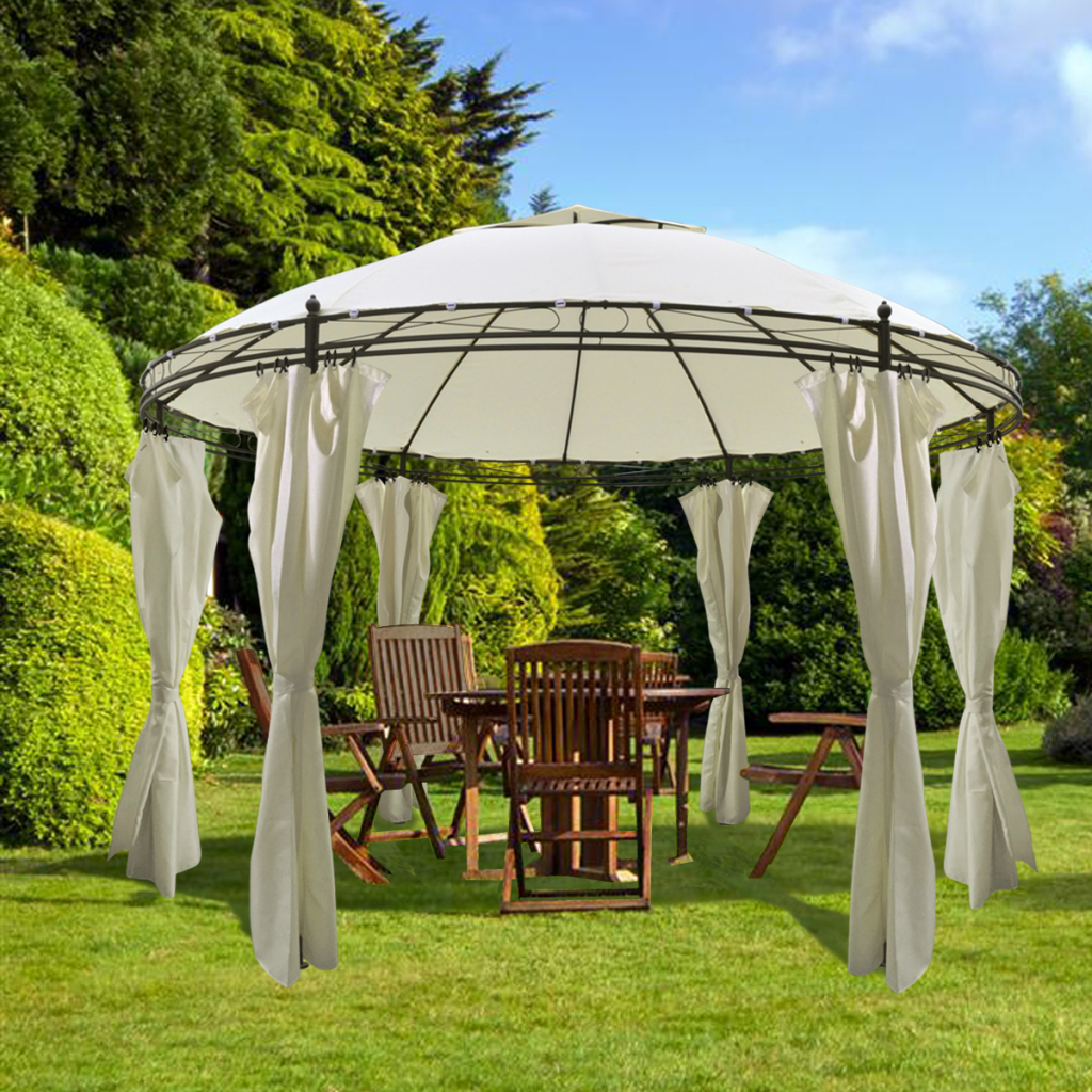 Round Gazebo with Curtains 11u0027 5u0027u0027 x 8u0027 ... & white Round Gazebo with Curtains 11u0027 5u0027u0027 x 8u0027 9u0027u0027 - LovDock.com