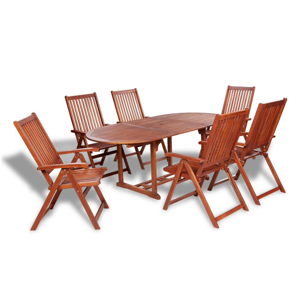 Wooden Outdoor Dining Set 6 Adjustable Chairs + 1 Extension Table