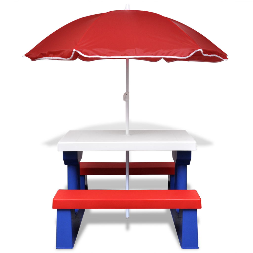 Red blue children 39 s picnic table with umbrella for Table umbrella