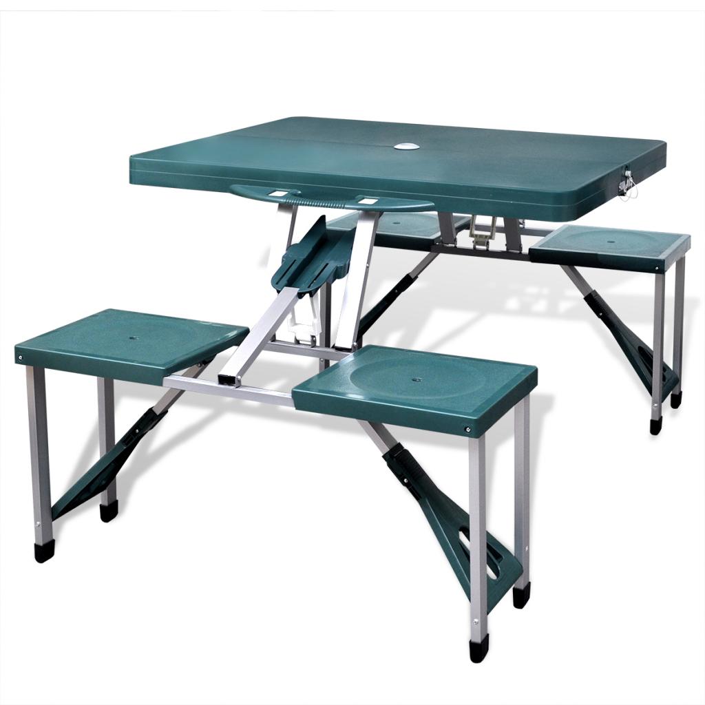 Elegant Faltbare Camping Tisch Set Mit 4 Hocker Aluminium Extra Light Green