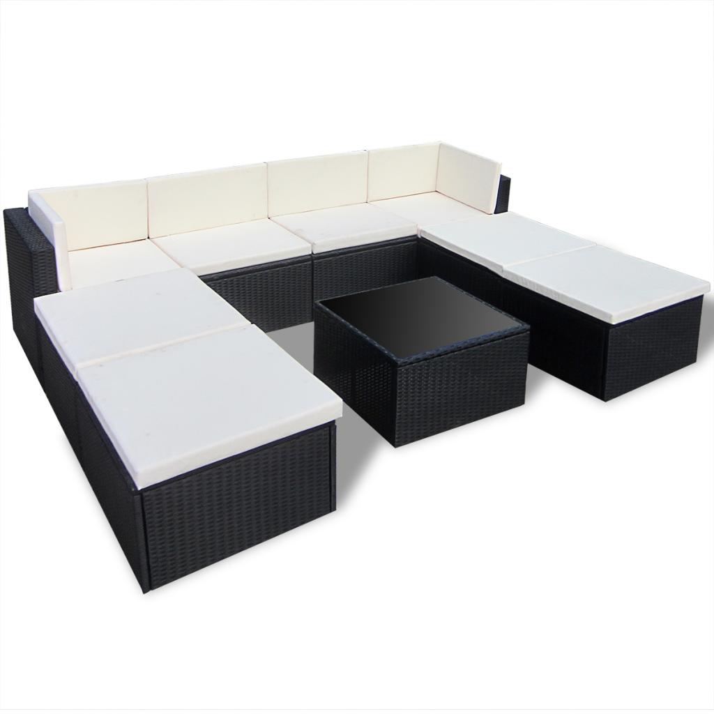 Black Rattan Outdoor Patio Poly Rattan Lounge Sofa Set