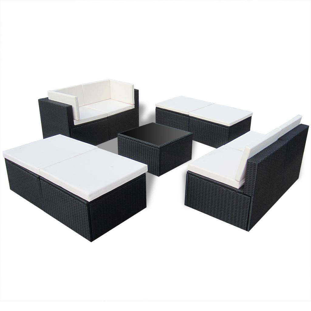 Black Black Rattan Outdoor Patio Poly Rattan Lounge Sofa Set