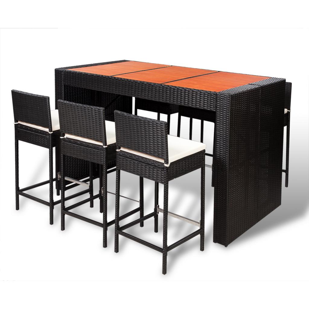 Only 501.40€, Poly Rattan Bar Meubles Set 6 tabourets +1 table avec bois  Top - LovDock.com