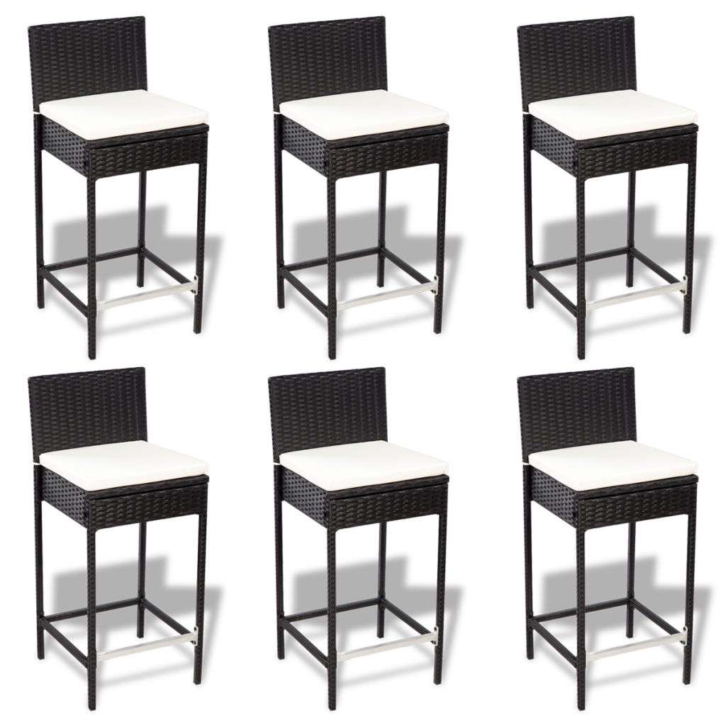 black poly rattan bar furniture set 6 bar stools 1 table with wooden top. Black Bedroom Furniture Sets. Home Design Ideas