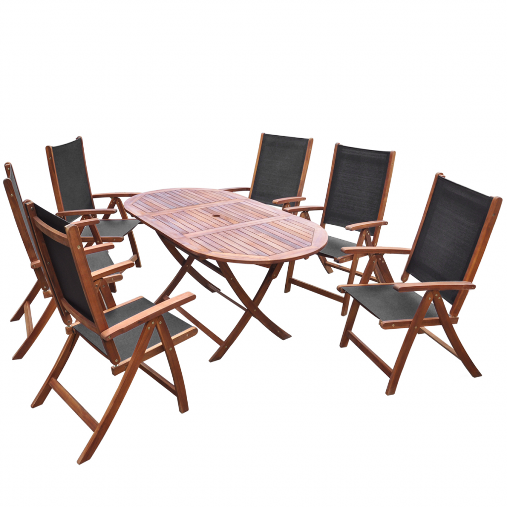 Seven Piece Folding Outdoor Dining Set Acacia Wood