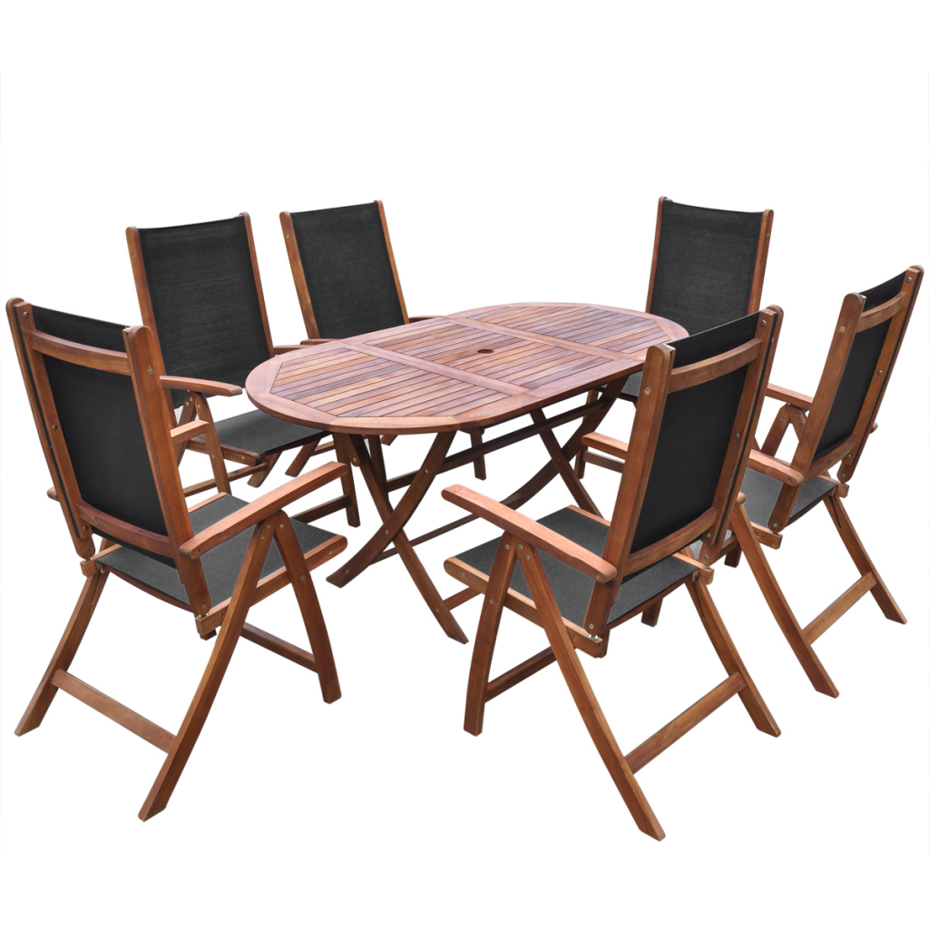 folding outdoor dining set backyard seven piece folding outdoor dining set acacia wood wood lovdockcom