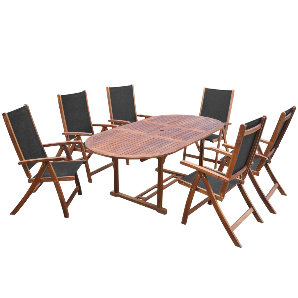 Seven Piece Folding Outdoor Dining Set Acacia Wood