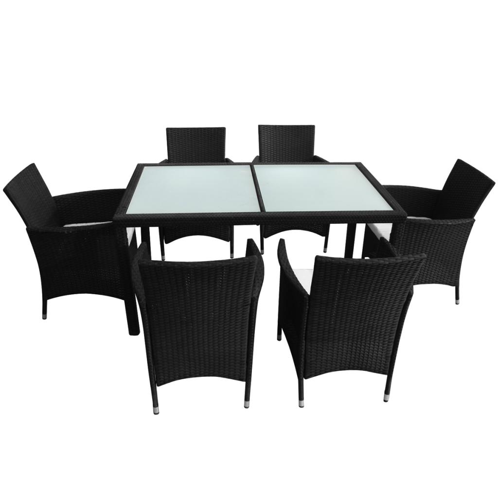 Nur 512.26€, 13 Stück Gartenmöbel Set Schwarz Polyrattan - LovDock.com