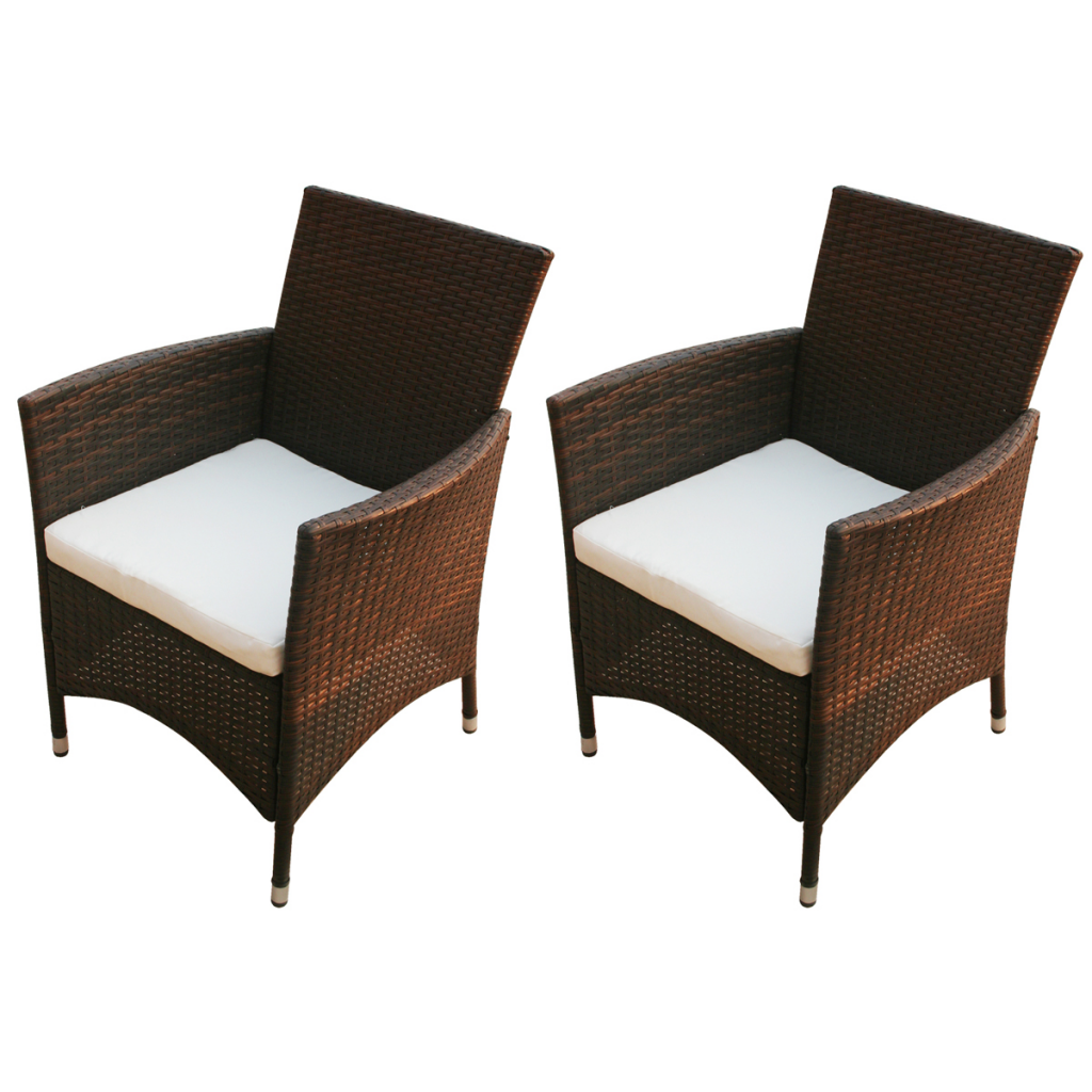 brown garden chair set 2 pcs brown poly rattan. Black Bedroom Furniture Sets. Home Design Ideas