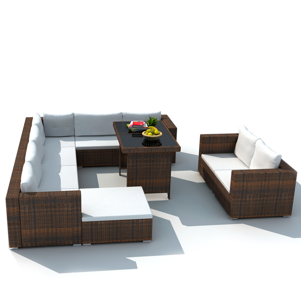 brown 28 piece dining lounge set brown poly rattan. Black Bedroom Furniture Sets. Home Design Ideas