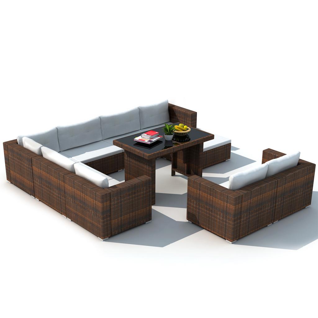 brown 28 piece dining lounge set brown poly rattan. Black Bedroom Furniture Sets. Home Design Ideas