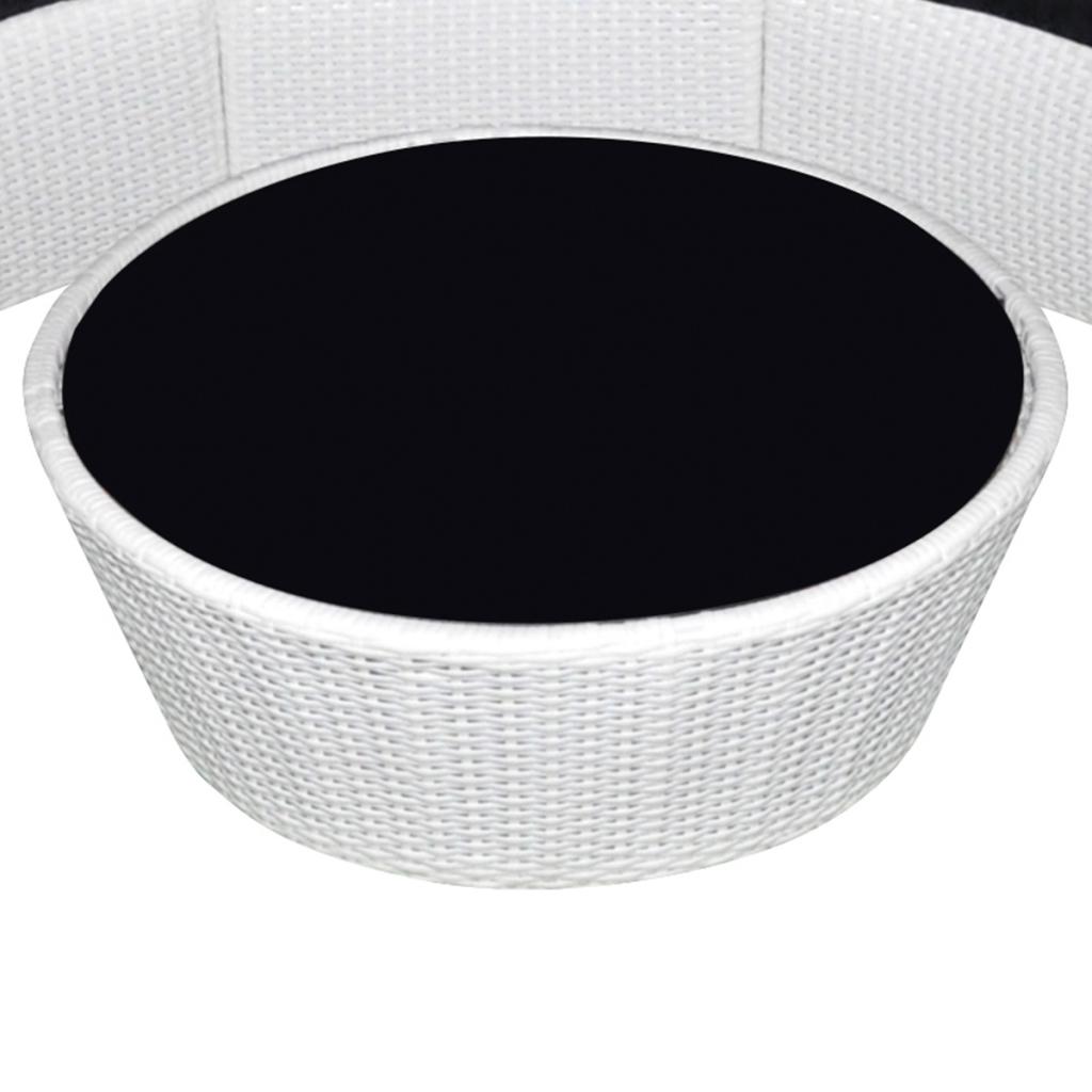 white garden lounge set round poly rattan white. Black Bedroom Furniture Sets. Home Design Ideas