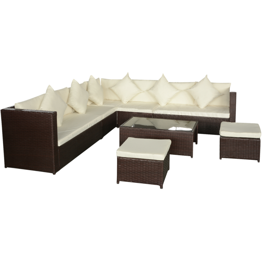 brown 29 Piece Garden Sofa Set Poly Rattan Brown - LovDock.com