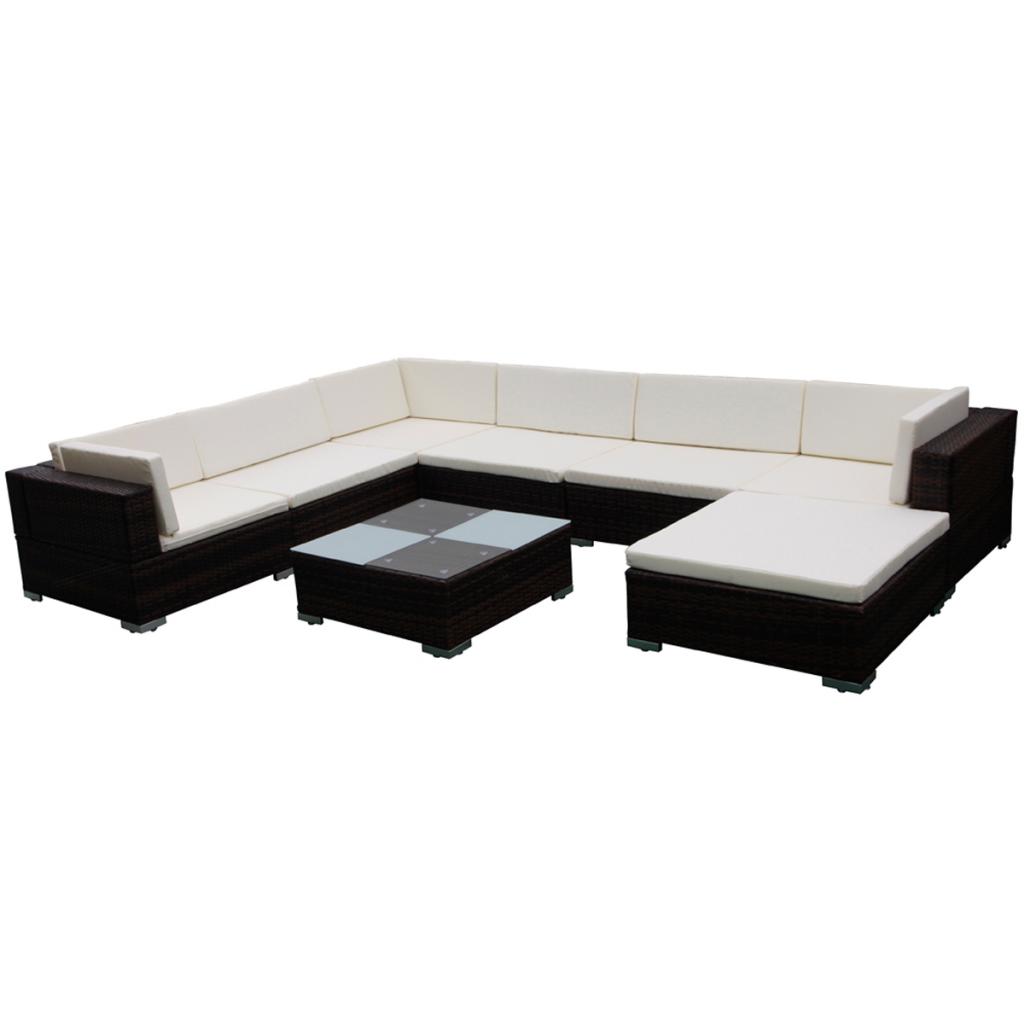 Cool Piece Garden Lounge Set Brown Poly Rattan With Polyrattan Lounge Set