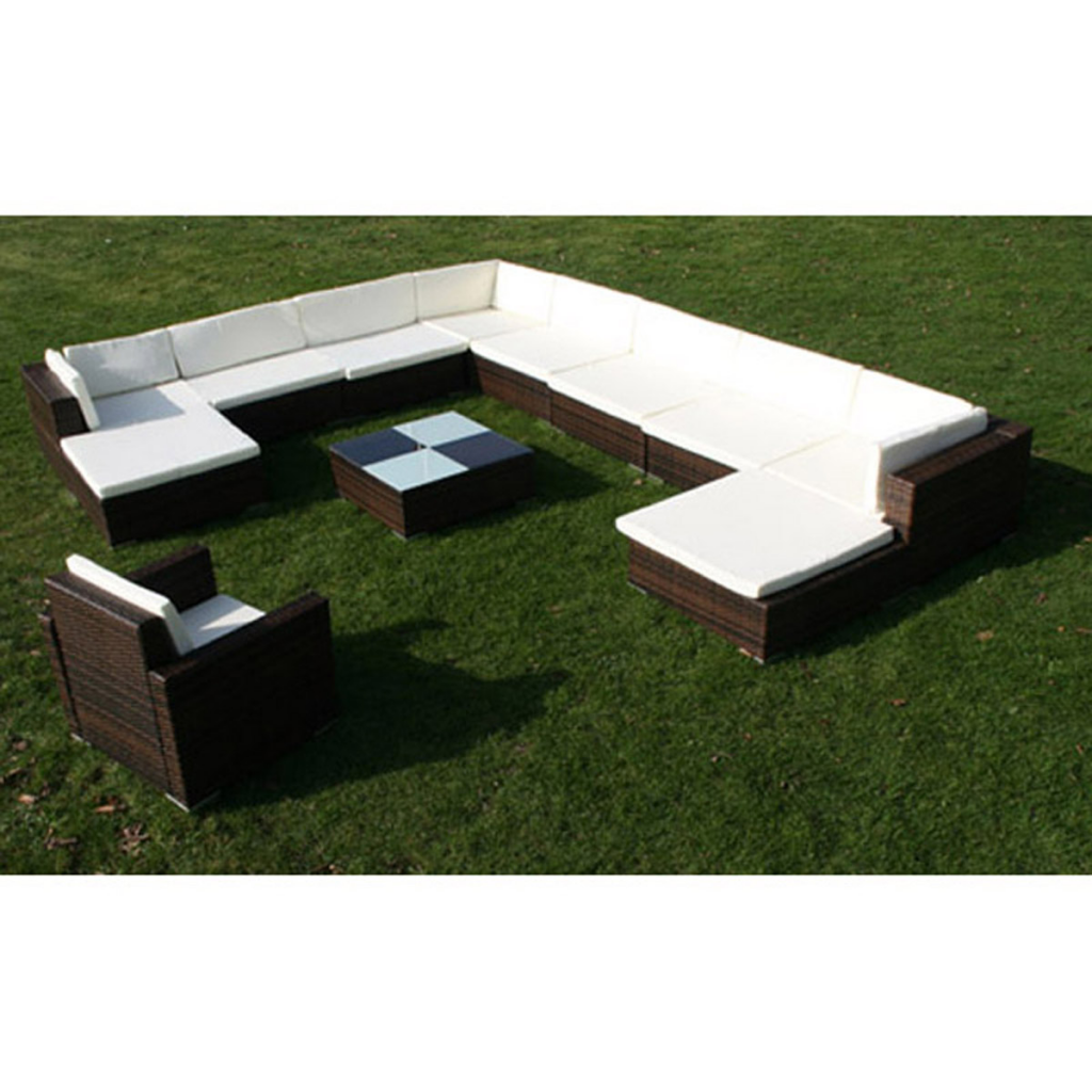 brown 35 piece garden lounge set brown poly rattan. Black Bedroom Furniture Sets. Home Design Ideas