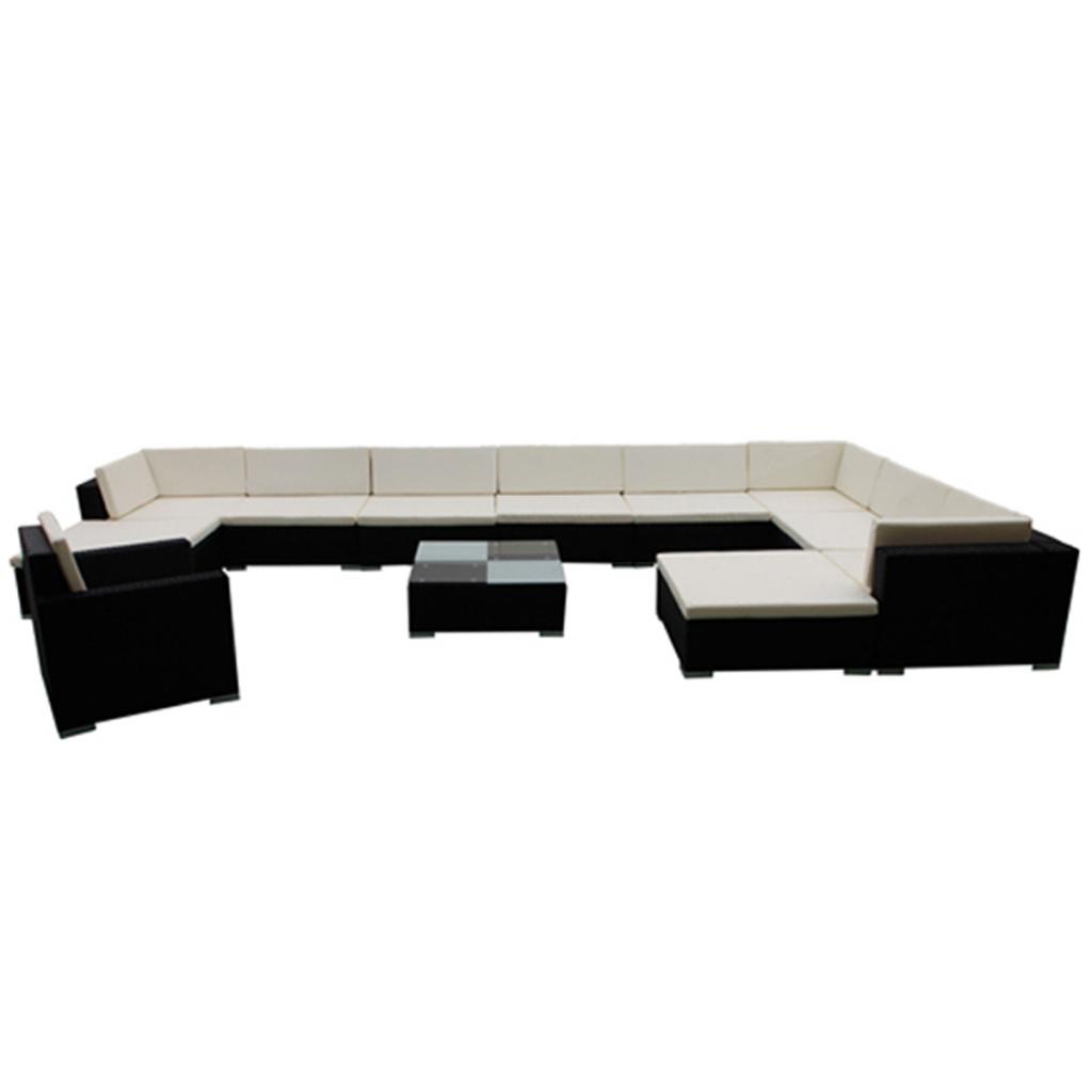black 35 piece garden lounge set black poly rattan. Black Bedroom Furniture Sets. Home Design Ideas