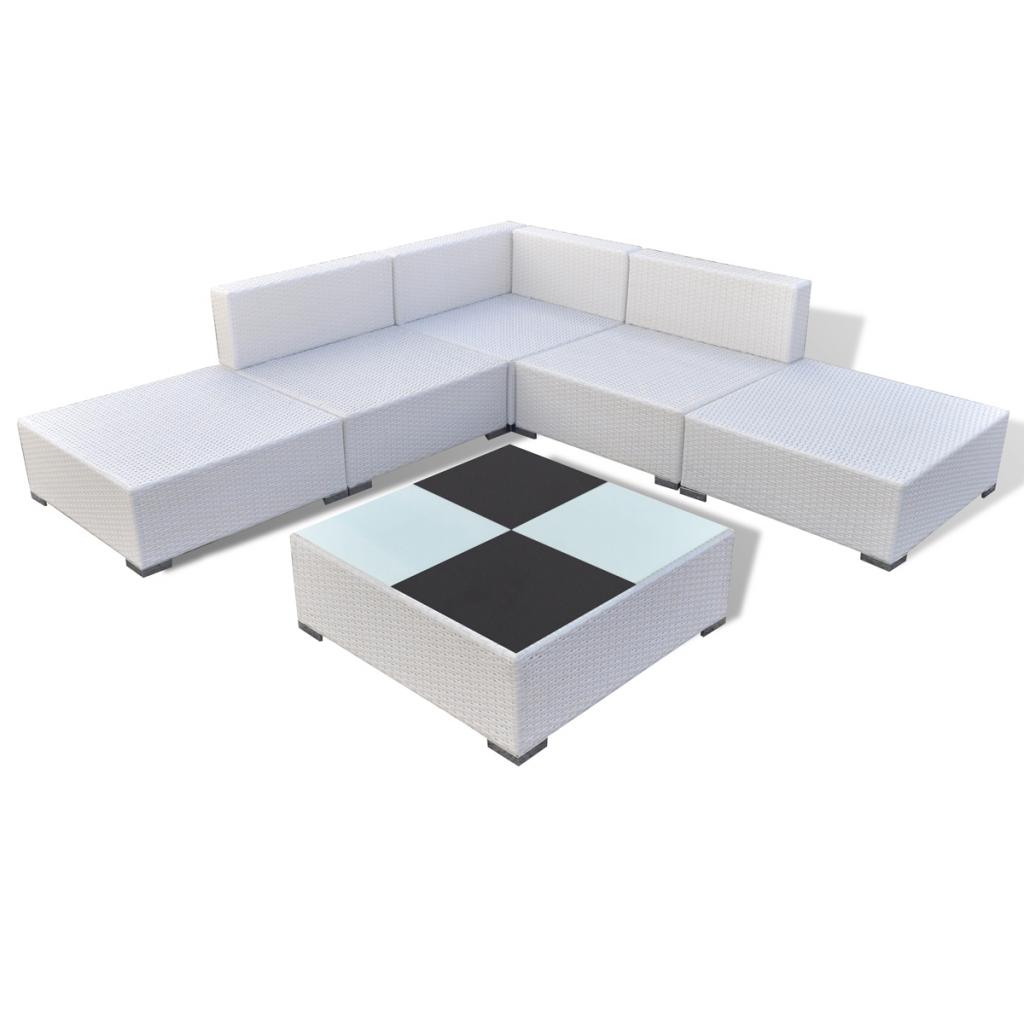 white 15 piece garden lounge set white poly rattan. Black Bedroom Furniture Sets. Home Design Ideas