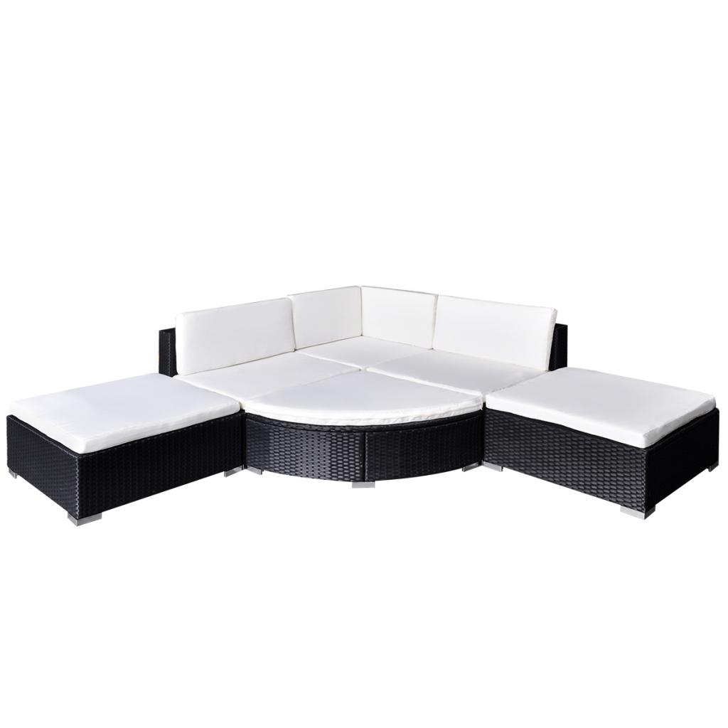 polyrattan lounge set schwarz, black 16 piece garden lounge set black poly rattan - lovdock, Design ideen